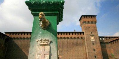 Vedovella nei pressi del Castello Sforzesco di Milano