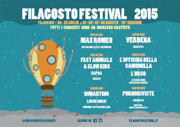 Fino all' 8 agosto torna Filagosto Festival. Due week end di musica live con concerti ad ingresso gratuito