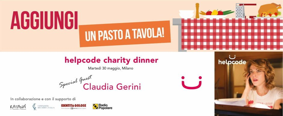 30 maggio a Milano: Helpcode Charity Dinner