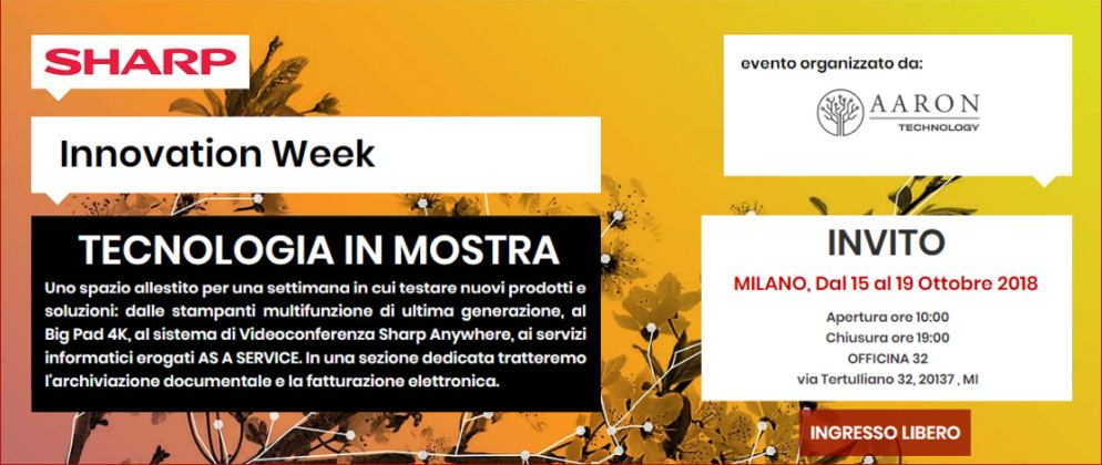 Dal 15 al 19 ottobre: Innovation Week - Tecnologia in mostra a Milano