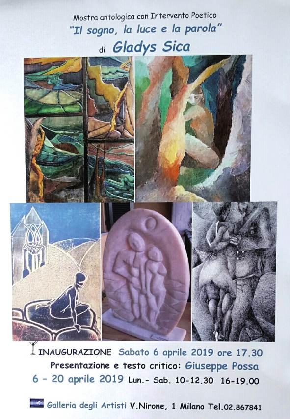 """Mostra Personale di Gladys Sica """"Il sogno, la luce e la parola"""" alla Galleria degli Artisti di Milano"""