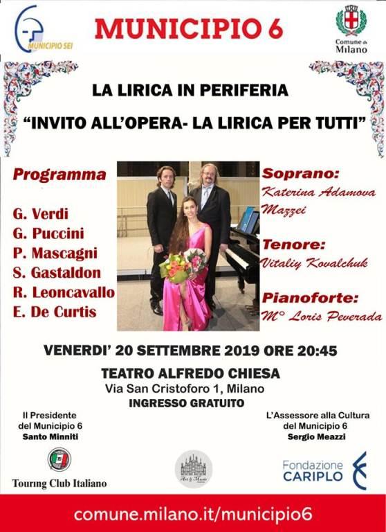Invito all'Opera, concerto gratuito al Teatro Alfredo Chiesa. Locandina dell'evento