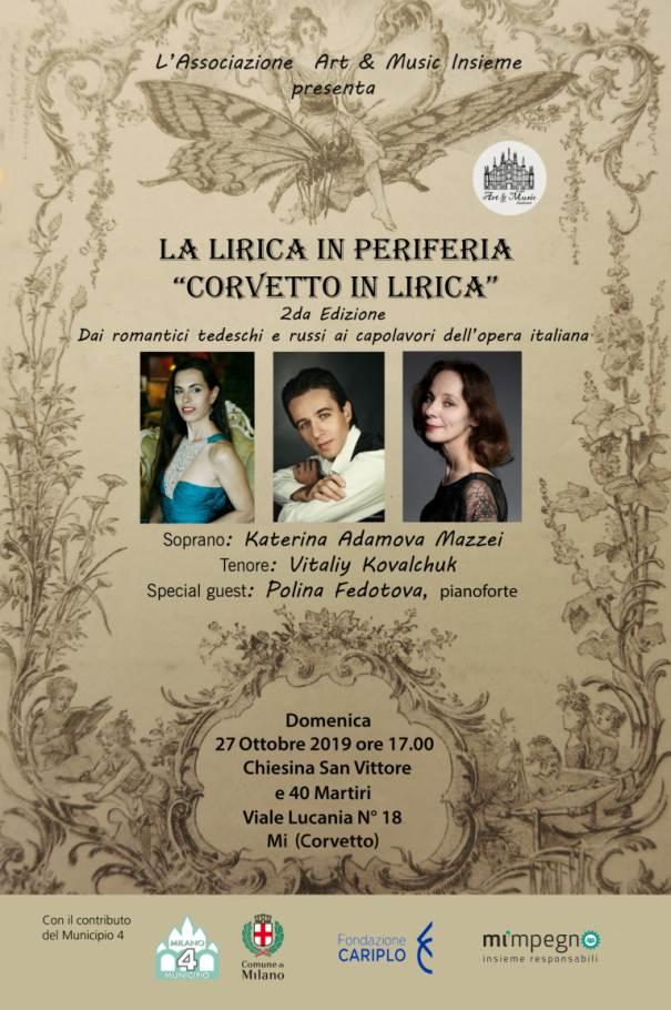 Corvetto in Lirica, locandina del concerto in programma domenica 27 ottobre a Milano