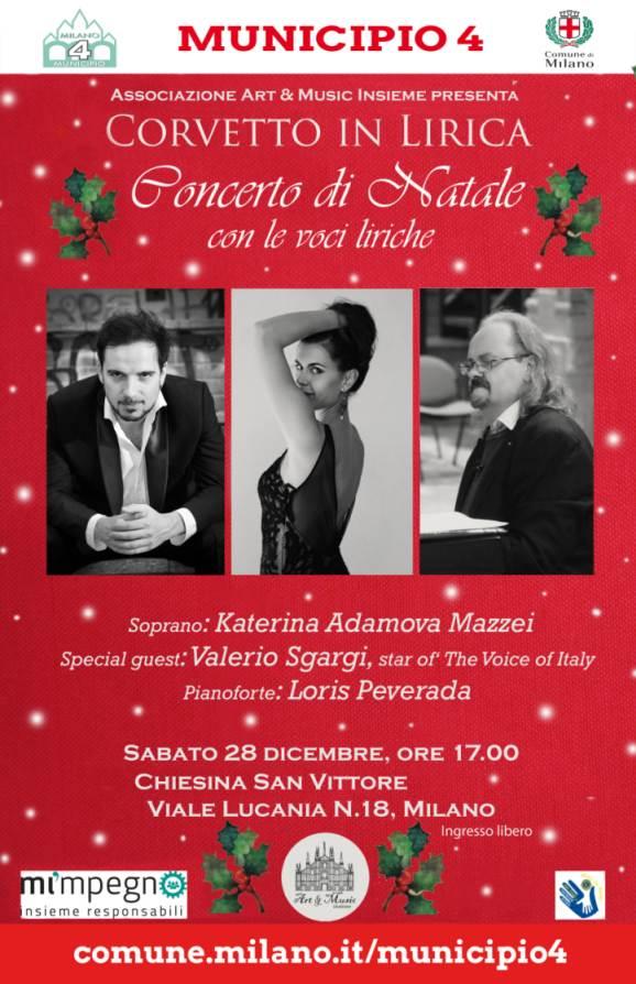"""Sabato 28 dicembre a Milano """"Concerto di Natale con le voci liriche"""", a cura dell'associazione culturale Art & Music Insieme. Ingresso gratuito!"""