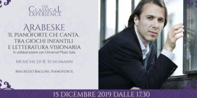 Arabeske: domenica 15 dicembre Maurizio Baglini in concerto in Palazzina Liberty a Milano