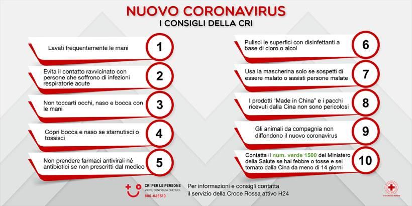 Coronavirus, come difendersi? Dieci regole da seguire, indicate dalla Croce Rossa Italiana