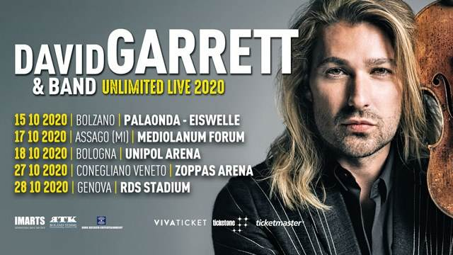 David Garrett in concerto al Mediolanum Forum di Assago: prevendite biglietti su Ticketone