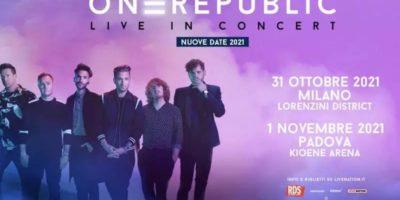 Concerti a Milano: rinviato al 2021 il live di OneRepublic al Lorenzini District