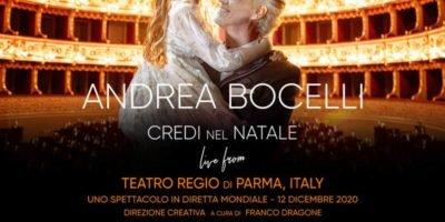 """Sabato 12 dicembre: concerto """"Believe in Christmas"""" con Andrea Bocelli"""