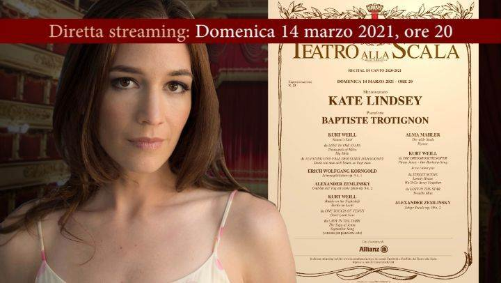 Domenica 14 marzo: recital del mezzosoprano Kate Lindsey in streaming dal Teatro alla Scala