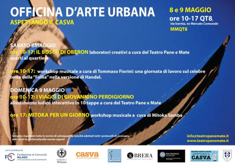 Sabato 8 e domenica 9 maggio: Officina d'Arte urbana a QT8