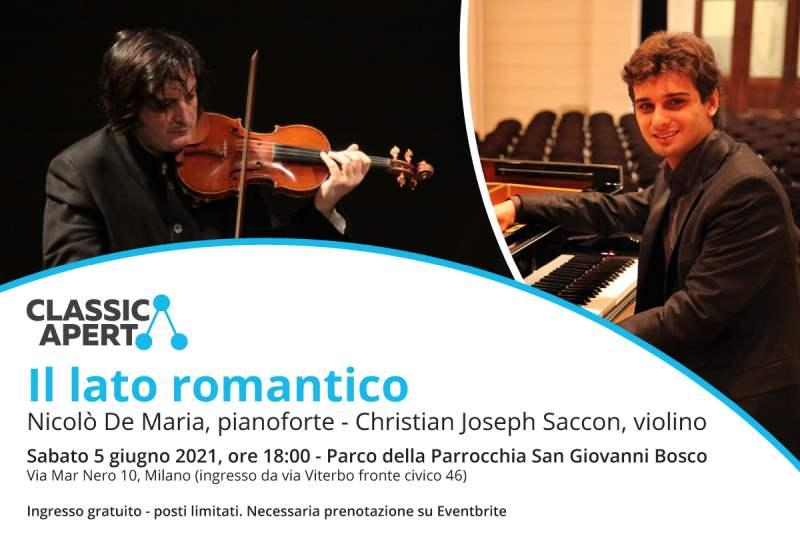 """""""Il lato romantico"""" di ClassicAperta: sabato 5 giugno appuntamento nel Parco della Parrocchia San Giovanni Bosco"""