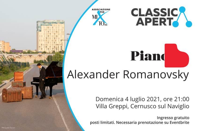 Domenica 4 luglio per ClassicAperta Alexander Romanosky in concerto a Cernusco sul Naviglio