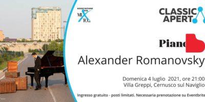 Domenica 4 luglio Alexander Romanosky in concerto a Cernusco sul Naviglio per ClassicAperta