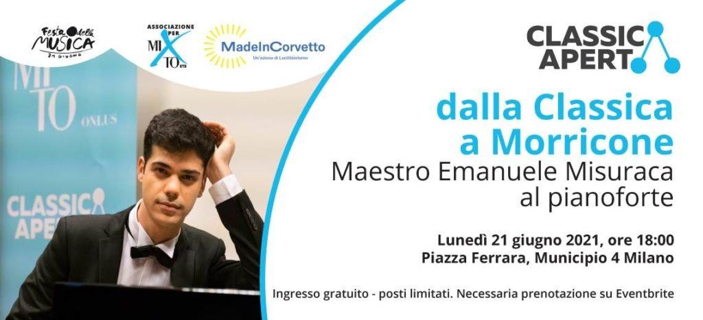 Lunedì 21 giugno ClassicAperta presenta il recital pianistico dalla Classica a Morricone