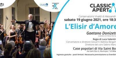 """Sabato 19 giugno ClassicaAperta accoglie l'opera da cortile """"L'Elisir d'Amore"""" di G. Donizetti"""