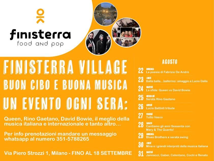 calendario eventi al Finisterra Village di Milano