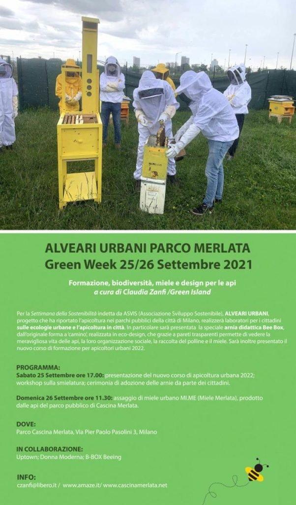 flyer evento Green Week - Alveari urbani a Parco Merlata