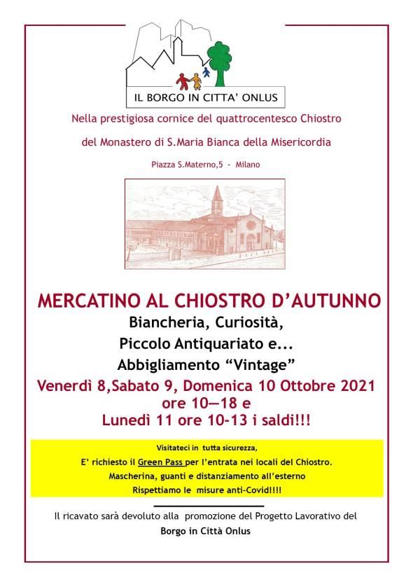 Mercatino al Chiostro d'Autunno a Milano. Evento di Borgo in Città Onlus